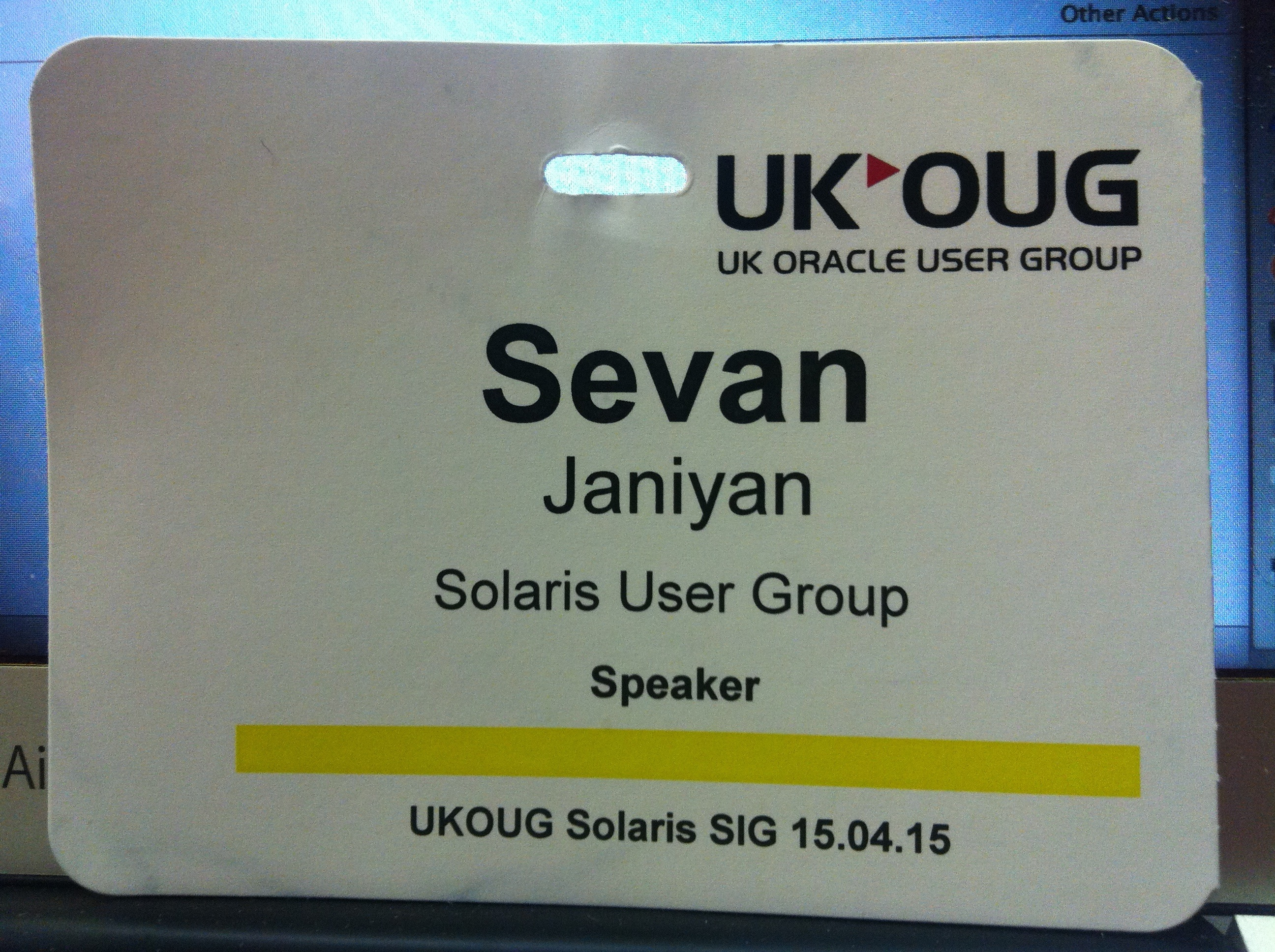 Solaris SIG name badge