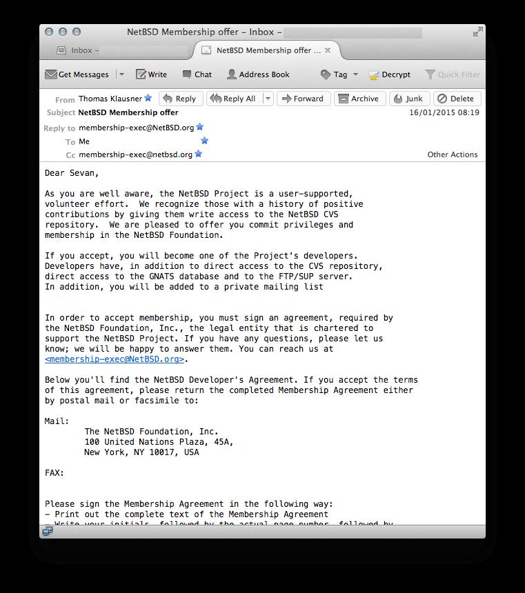 NetBSD Membership offer