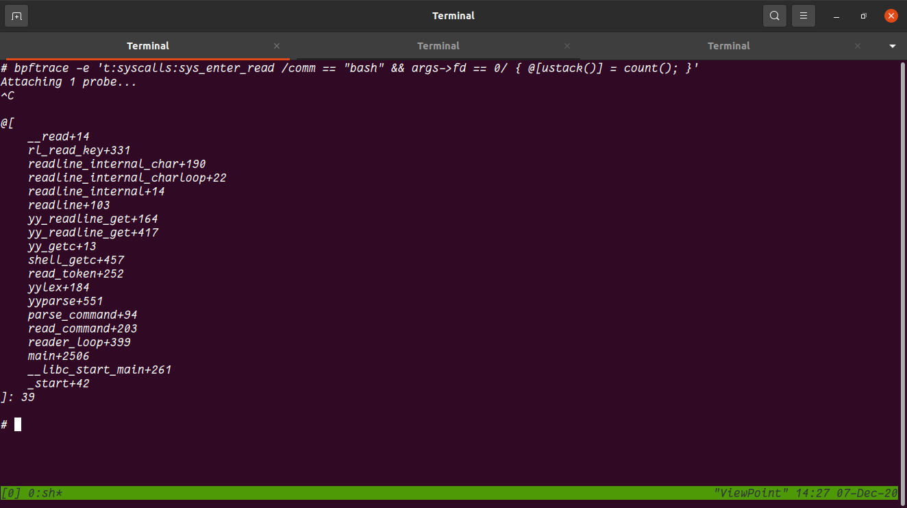 stack trace from bash on system with bash and libc built with -fno-omit-frame-pointer.