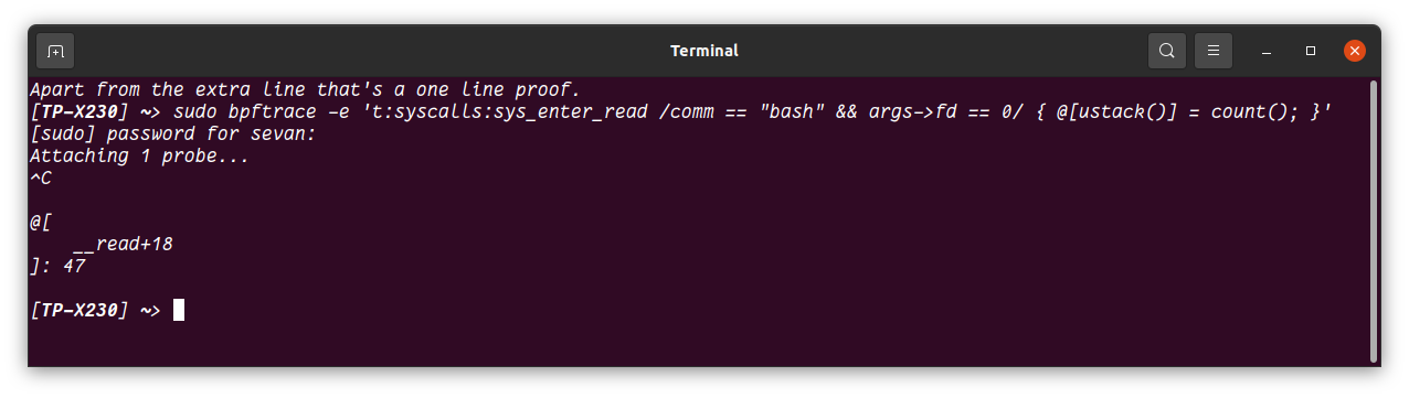 Instrumenting bash which has been built with -fomit-frame-pointer.