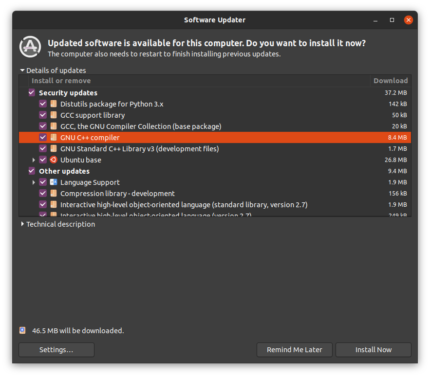 Software updater in Ubuntu